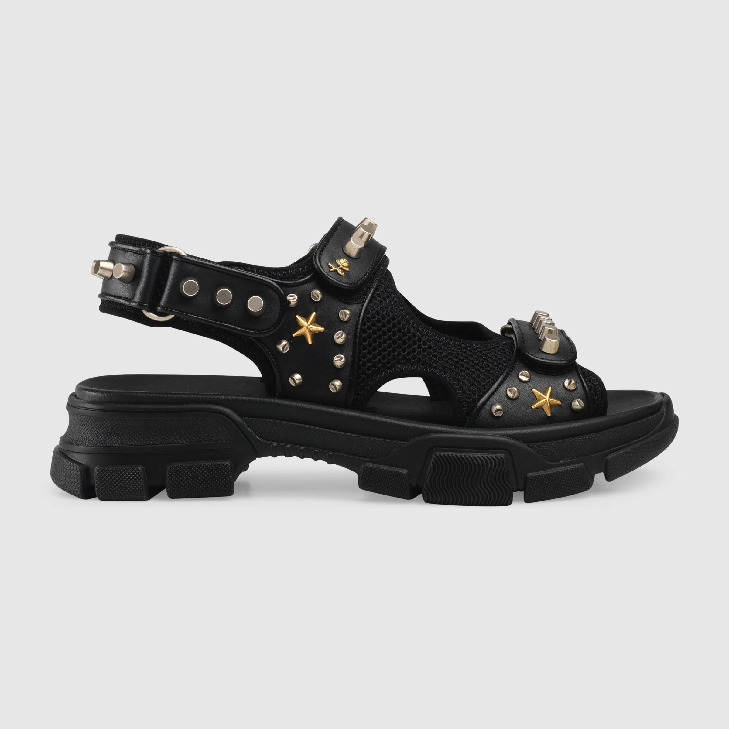 Leather And Mesh Sandal With Studs In Black Leather And Mesh Gucci Men S Shoes Gucci Men Shoes Mens Leather Sandals Studded Sandals