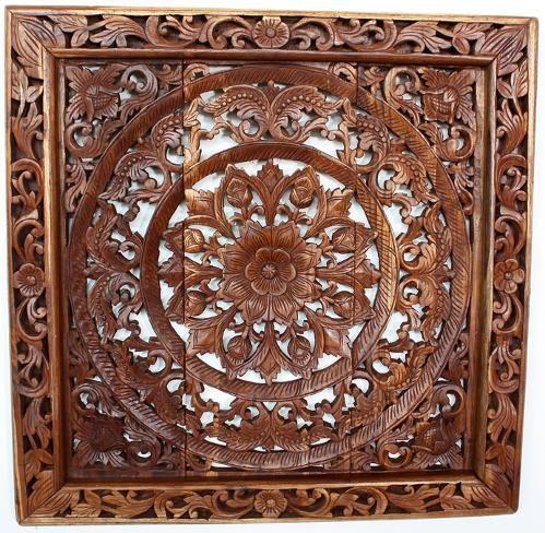 wall decor teak lotus panel square framed