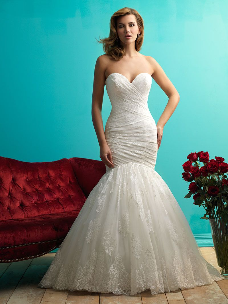 Strapless Sweetheart Neckline Pleated Simple Mermaid Wedding Dress ...