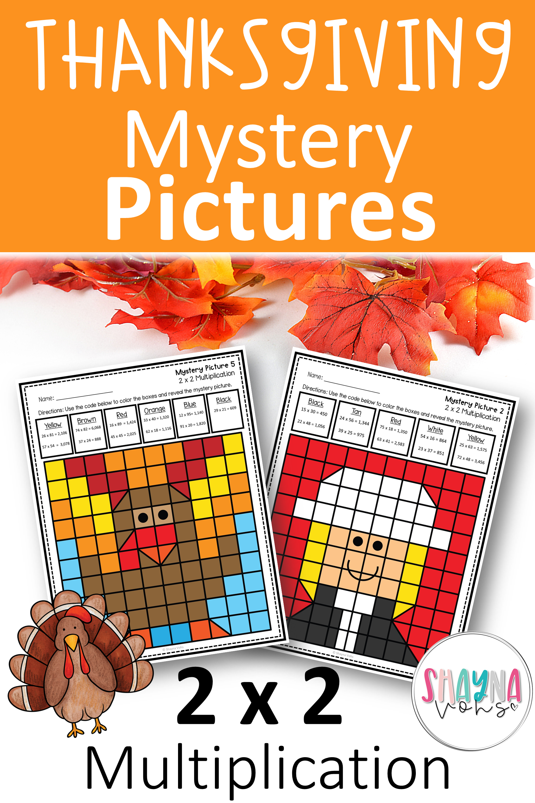 2 By 2 Multiplication Mystery Pictures