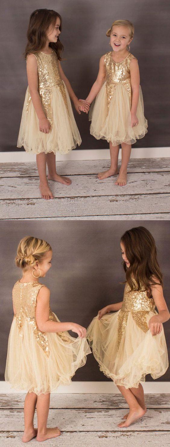 Cute flower girl dress short flower girl dress gold flower girl