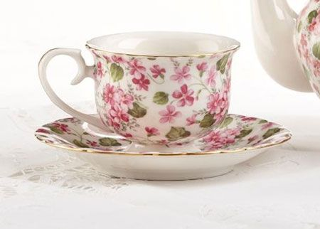 Pink Phlox Teacup-porcelain teacup