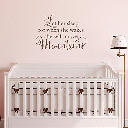 She will move Mountains Wall Decal - Let her sleep for when she wakes - Baby Girl Nursery Wall Sticker *** Want to know more, click on the image.