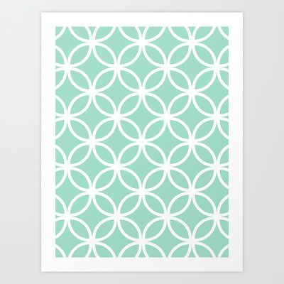 Mint Geometric Circles Art Print by The Petite Pear - $16.00