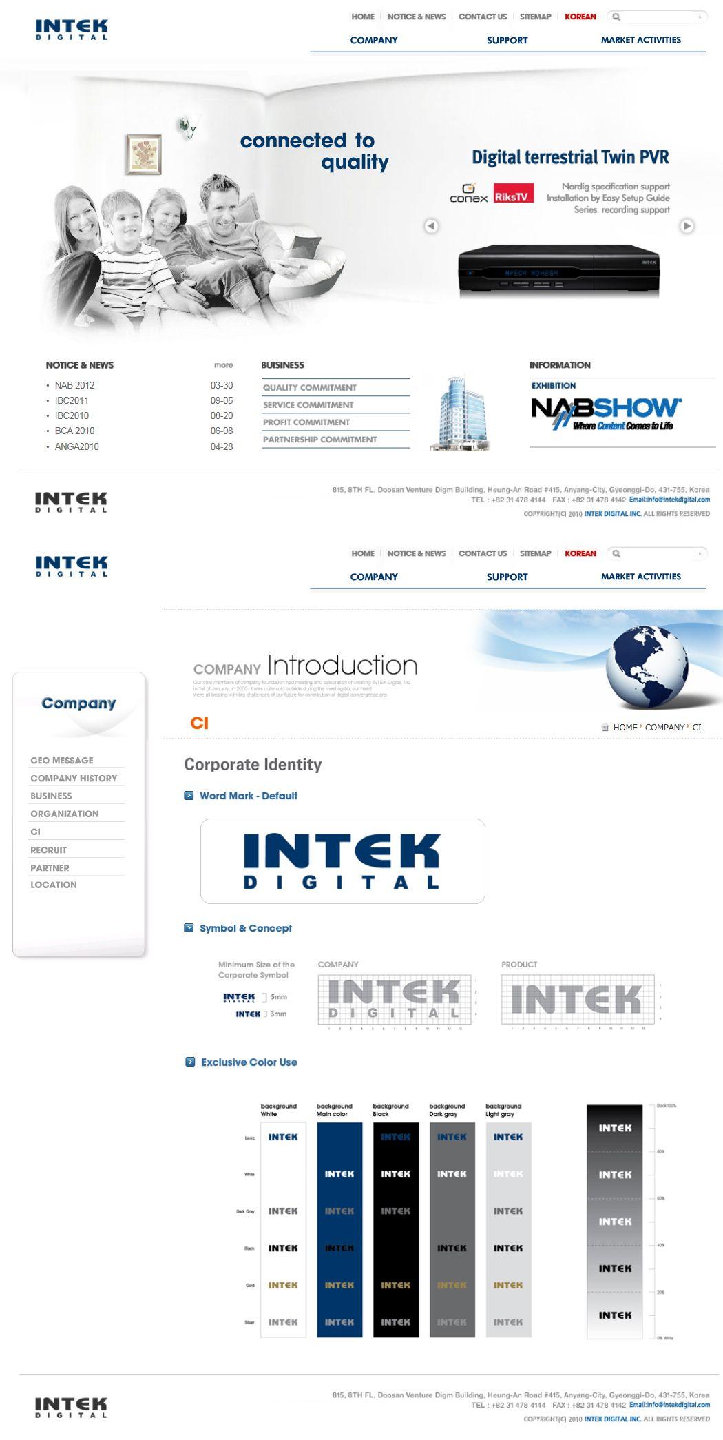2009년 인텍디지탈 홈페이지 디자인/플래시/코딩 참여도: 100% http ...