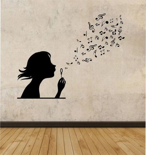 girl blowing music notes vinyl wall decal sticker art decor bedroom