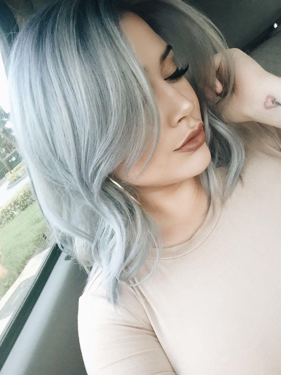 Icey blue silver hair ig themonitru silver hair women