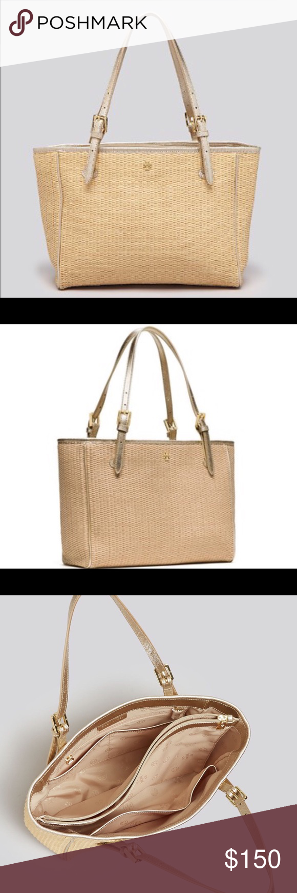 f8b6adb71f30 Tory Burch York straw small buckle tote Straw colored woven texture  combined with silver leather straps and buckles. Good used condition.
