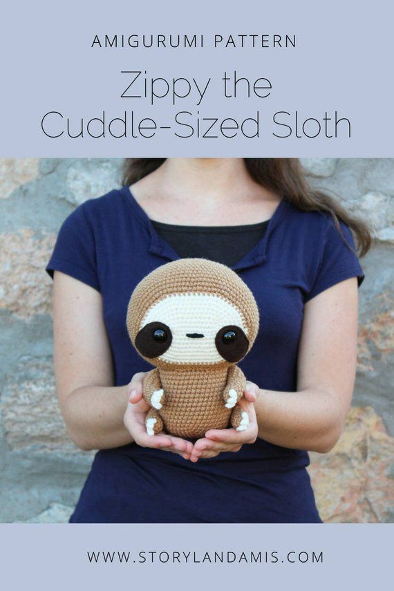 PATTERN: Cuddle-Sized Sloth Amigurumi, Crocheted Sloth Pattern, Sloth Toy Tutorial, PDF Crochet Pattern #instructionstodollpatterns