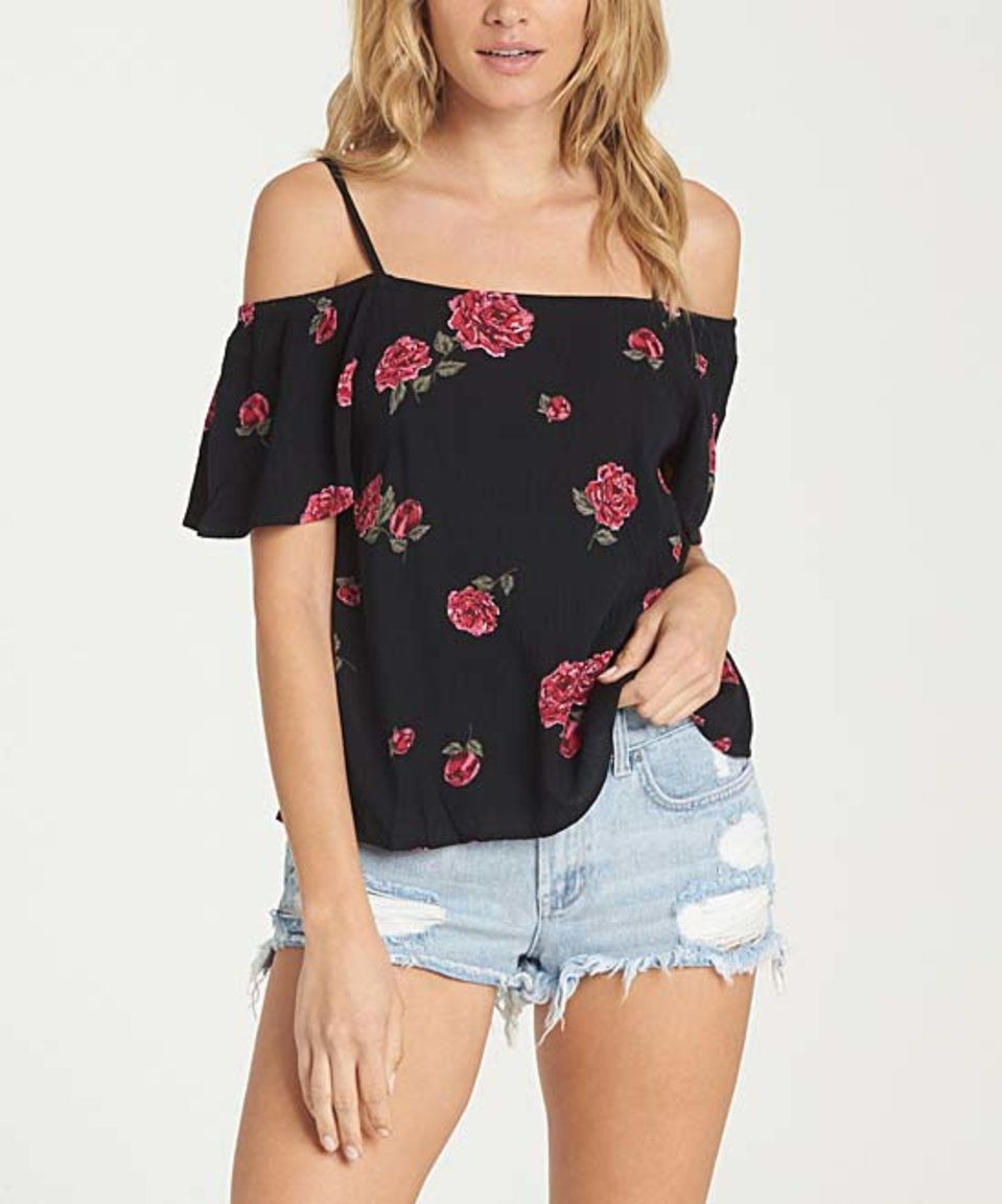 Loving this Billabong | Black Floral Summer Nights Off-Shoulder Top on #zulily! #zulilyfinds