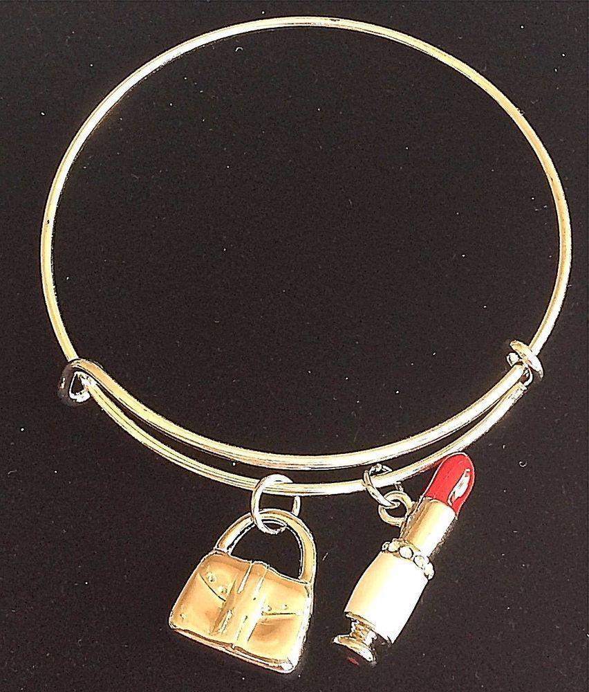 fd70702b20ba9 Silver Makeup Artist Gift Charm Bracelet Mary Kay Handbag Lipstick ...