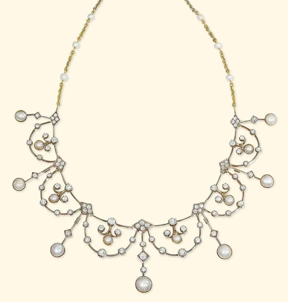AN EDWARDIAN DIAMOND AND PEARL NECKLACE/TIARA -- The front designed as a series of knife-edge swags with old-cut diamond collets and pearl and diamond centres interspersed with seven graduated diamond and pearl bars, to the detachable associated backchain with pearl detail and lozenge-shaped clasp, tiara frame deficient, mounted in silver and gold, circa 1900s.