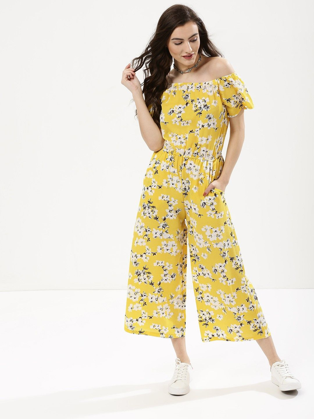c134ab952413 Buy Floral Print Bardot Culotte Jumpsuit For Women - Women s Lemon Jumpsuits  Online in India