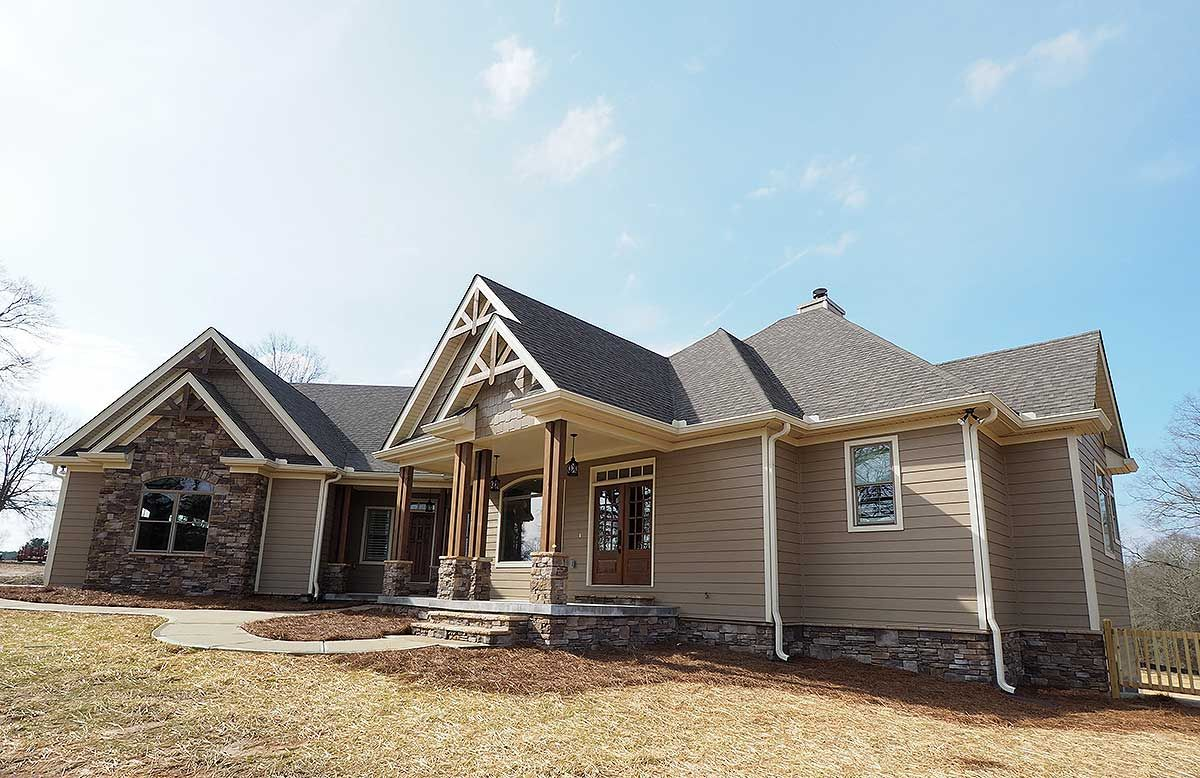 Plan 36043dk angled craftsman home plan with outdoor for Craftsman house plans with bonus room