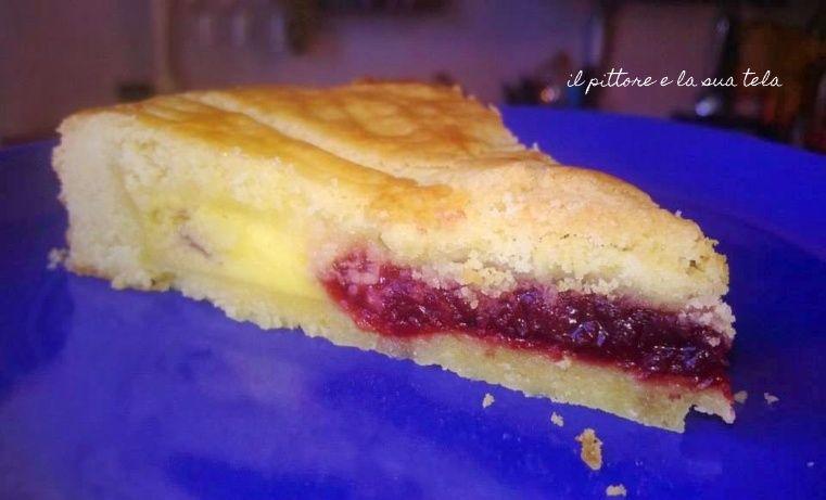 Torta basca con crema e marmellata di lamponi
