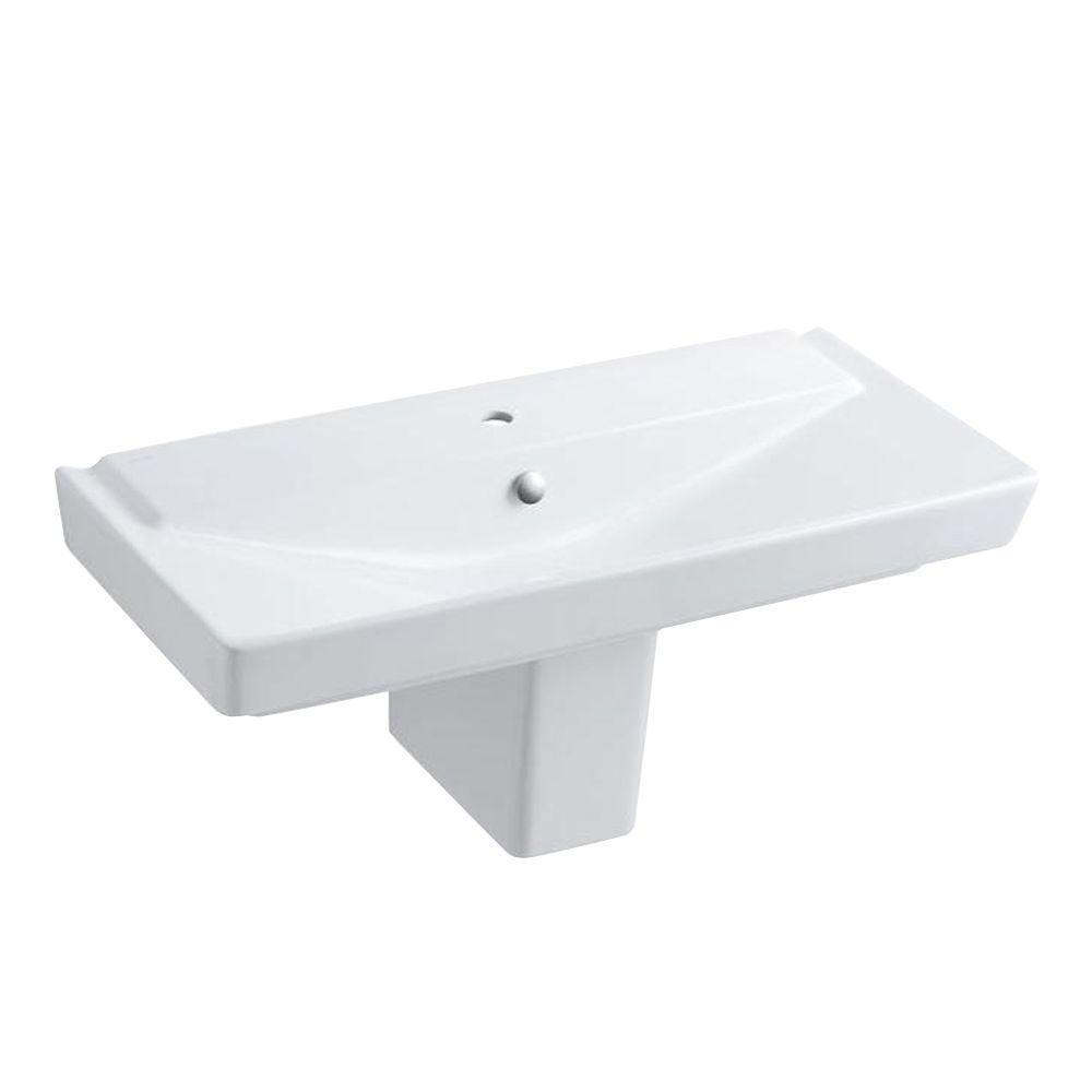 KOHLER Reve Semi-Ceramic Pedestal Combo Bathroom Sink in White with Overflow  Drain