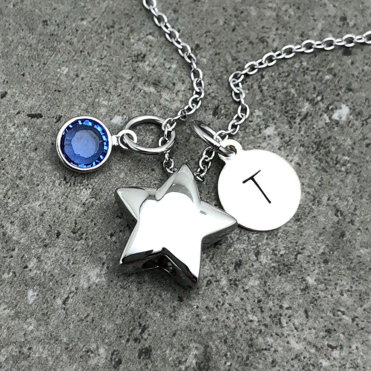 Cremation Necklace Engravable Urn Stainless Steel Dainty Star Cremation Urn Necklace Urn Necklace Memorial Jewellery