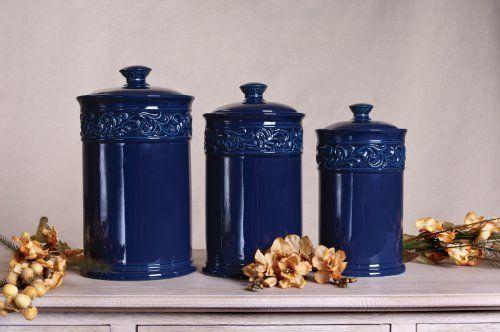3 Piece Large Cobalt Canister Set By Drake Design 150 00 4068 Cobalt 3 Piece Canister Set Cera Blue Kitchen Accessories Cobalt Blue Kitchens Tuscan Kitchen