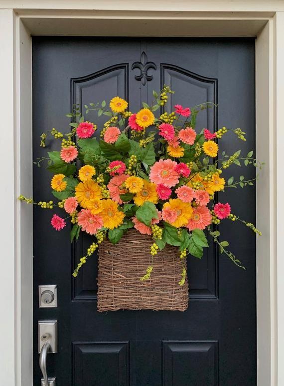 Photo of XL SPRING Door Wreath, Spring Basket for Front Door, Gerber Daisy Wreath, Yellow Daisy Wreath, Wreaths for Spring, Spring Door Wreaths