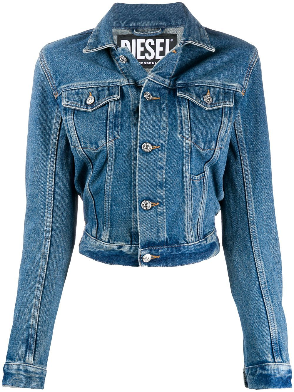 Diesel Fitted Denim Jacket Farfetch Fitted Denim Jacket Jackets Denim Jacket [ 1334 x 1000 Pixel ]
