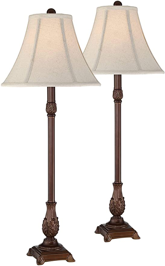 Giselle Traditional Buffet Table Lamps Set Of 2 Light Brown Off White Bell Shade For Dining Room Regency Hill Ama Buffet Table Lamps Table Lamp Sets Lamp