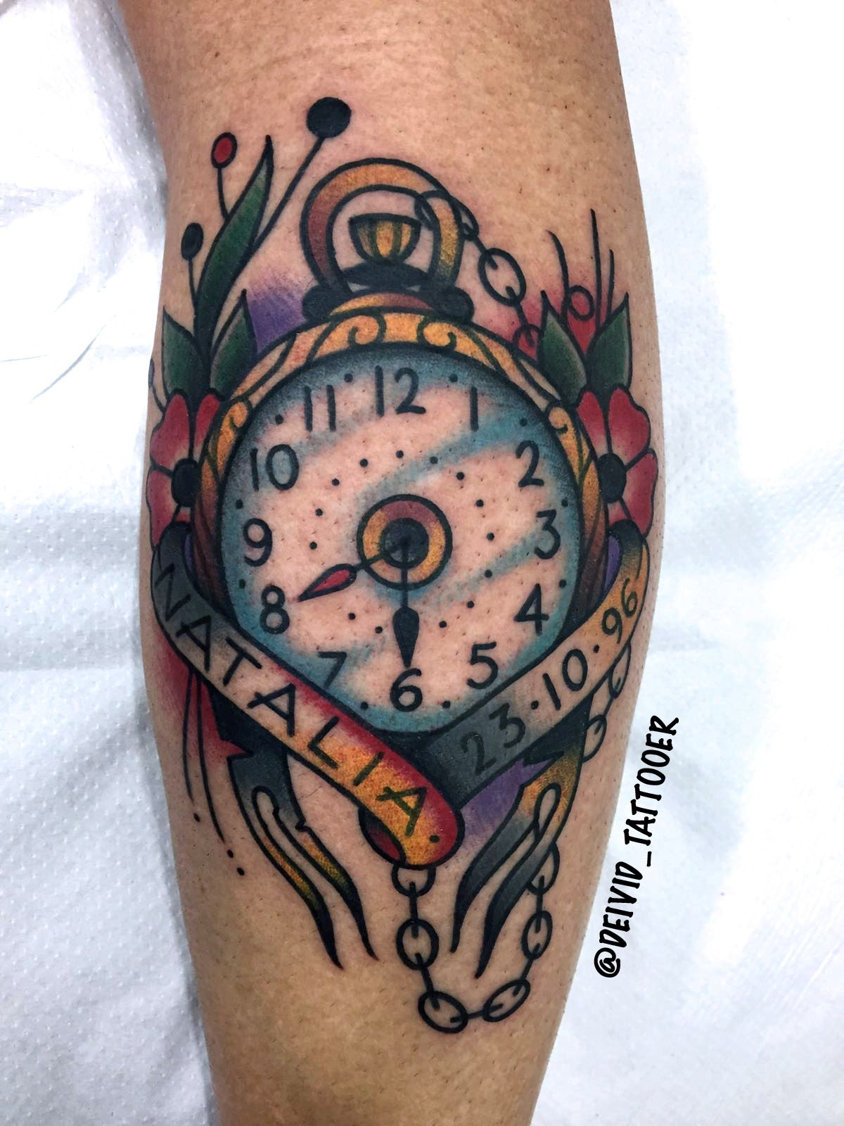 done by @deivid_tattooer . #clock #tattoo #traditional ...