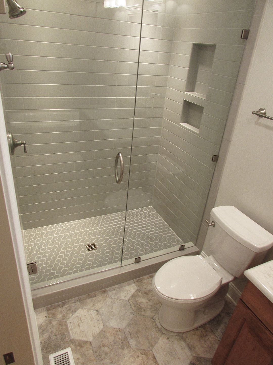 Master Shower Featuring Subway Hex Tile In 2020 Bathroom Interior Design Master Shower Bathroom Interior