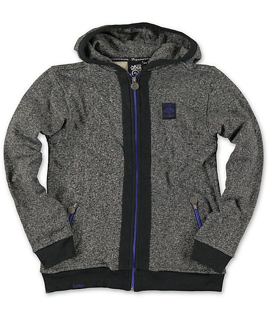 Get your young one fitted in a warm new look with the LRG Boys Tek charcoal zip up hoodie. Update their sweatshirt collection with the charcoal body, black hem, hood lining, center chest, and sleeve cuffs, zip up closure and zip pockets with purple zipper