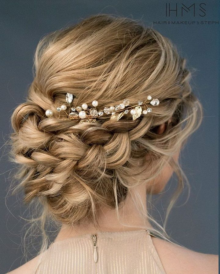Braid Hairstyles For Wedding Party: Beautiful Loose Braided Updos Bridal Hairstyle Perfect For