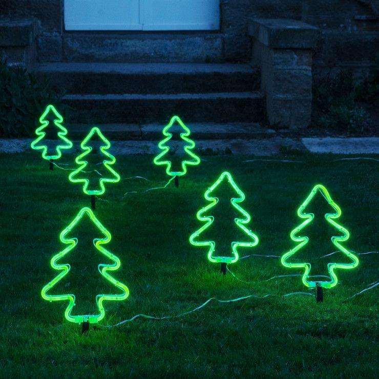 6 Neon Christmas Tree Stake Lights Outdoor Christmas Tree Decorations Outdoor Christmas Tree Outdoor Christmas