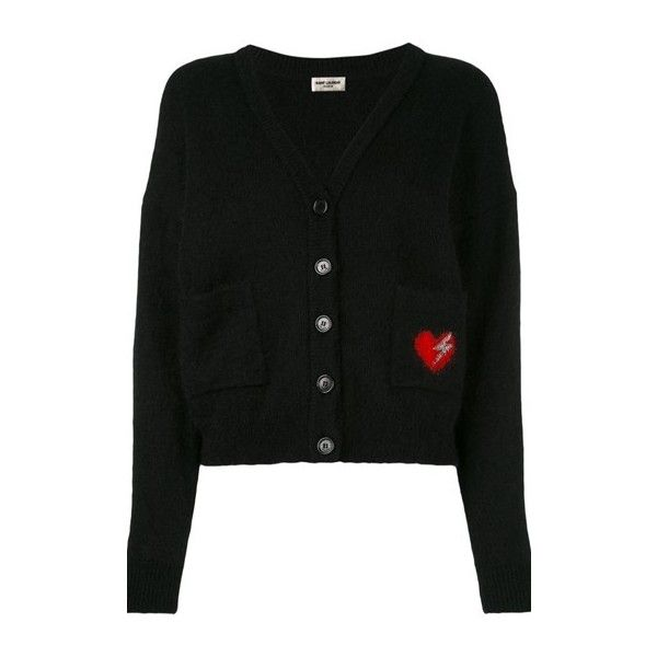 SAINT LAURENT 'Bolt Heart' Cardigan (3.225 BRL) ❤ liked on Polyvore featuring tops, cardigans, black, cardigan top, v neck cardigan, v neck long sleeve top, heart tops and yves saint laurent