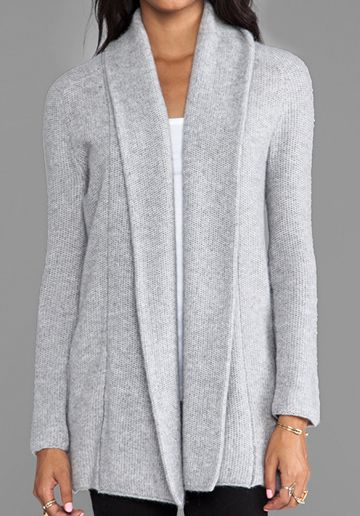 360 SWEATER Aries Wool Cashmere Cardigan in Heather Grey buy yours ...