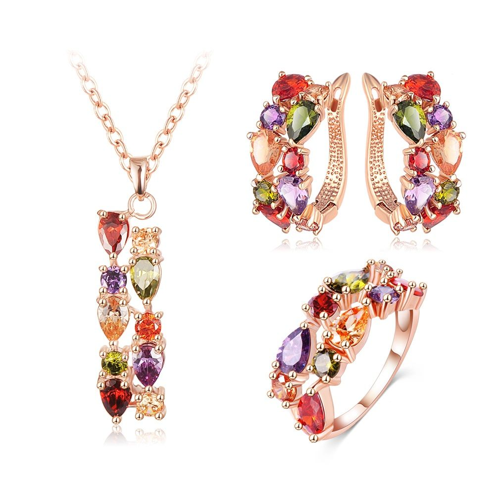 Rose gold plated flower jewelry set multicolor cubic zircon pendant