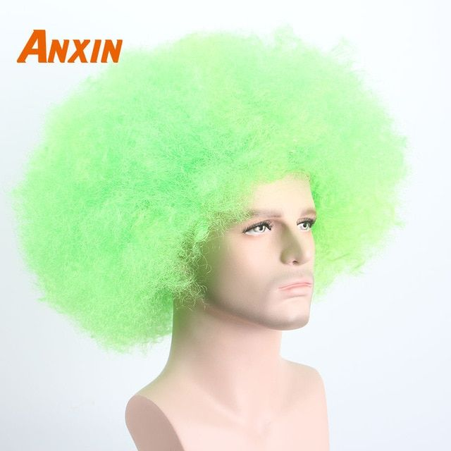 Synthetic None-lacewigs Synthetic Wigs Afro Clown Wig Big Top Fans Party Wigs Women Men Kids Curly Football Fans Wig None Lace Wigs Synthetic Hair Unsex