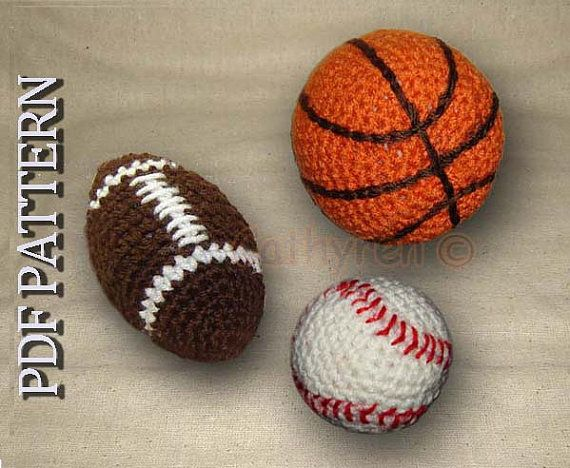 Toy Football Basketball And Baseball Instant Download Crochet