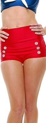 Red 50's Style High Waisted Skipper Swim Bottoms