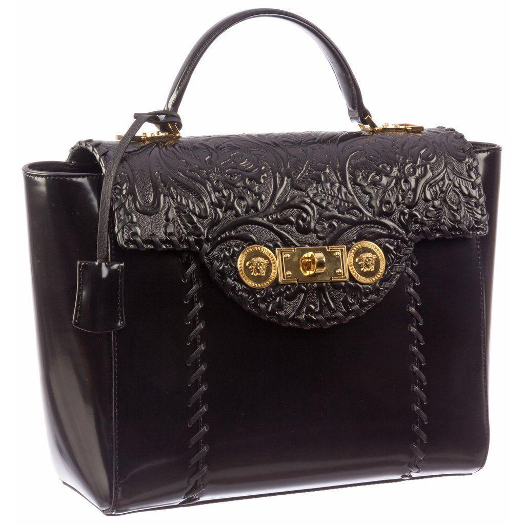 Versace Signature Lock Leather Handbag-D410H - MilanoFashion56.com ... 556c374761bde