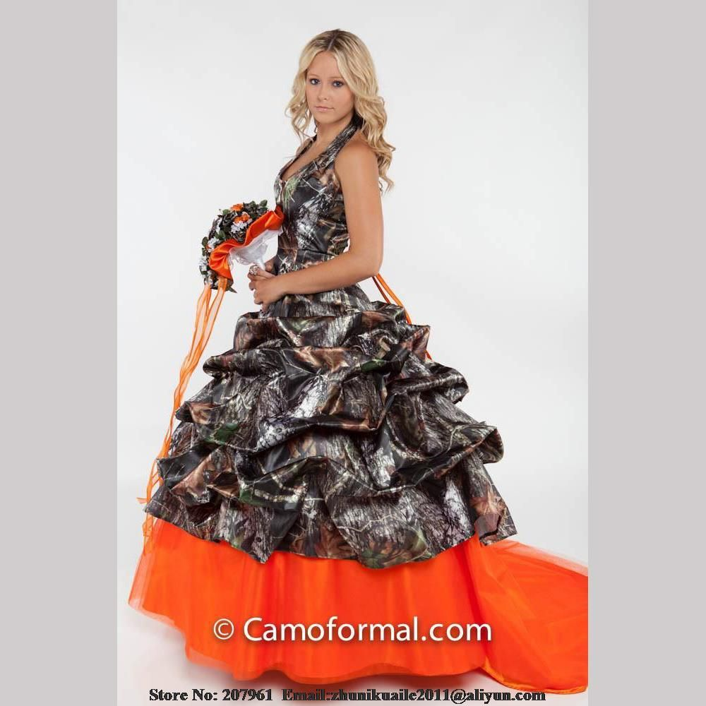 Orange Camo Wedding Dresses  Halter Camouflage Bridal gown