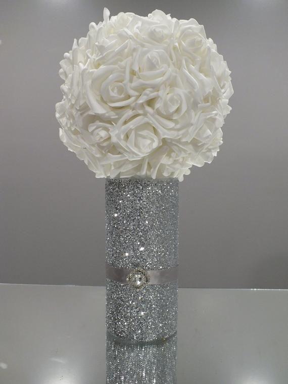Wedding Centerpieces Flower Ball Kissing Ball Glitter Vase Etsy Flower Centerpieces Wedding Glitter Vases Glitter Centerpieces