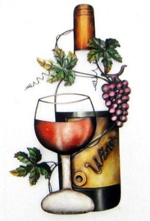 Wall Art - Metal Wall Art - Wine Glass Bottle And Purple Grape Scene ...