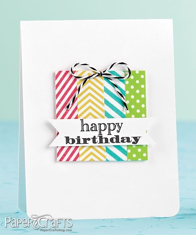 Handmade Birthday Card Clean And Simple Washi Tape Strips Make A Colorful Package