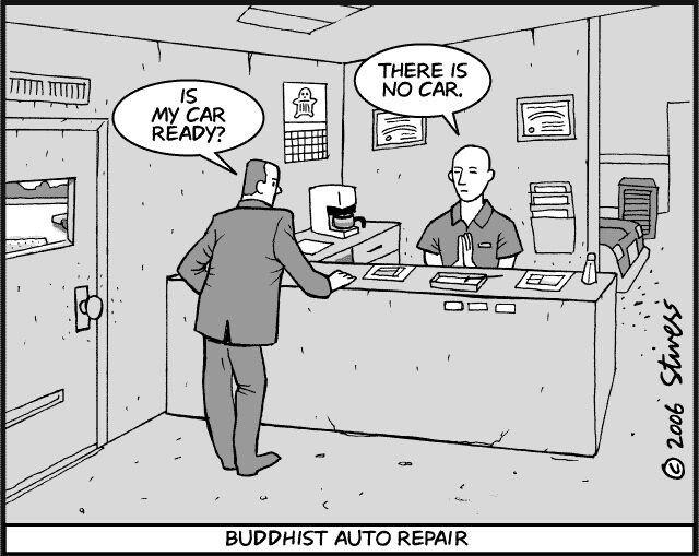 Buddhist Auto Repair There Is No Car Auto Repair Yoga Cartoon Repair