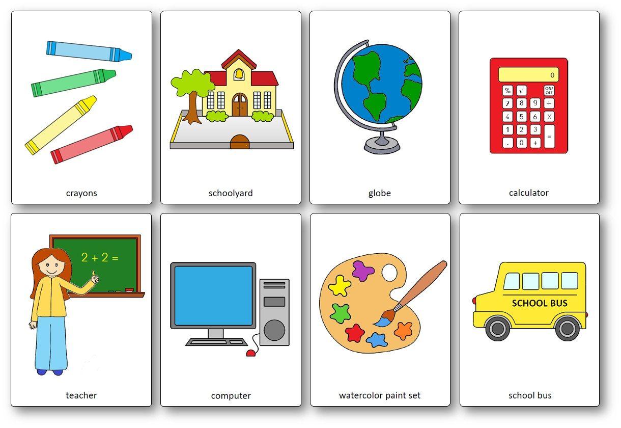 Flashcards Sur Le Materiel De Classe En Anglais Printable Flash Cards Free Printable Flash Cards Flash Card Template