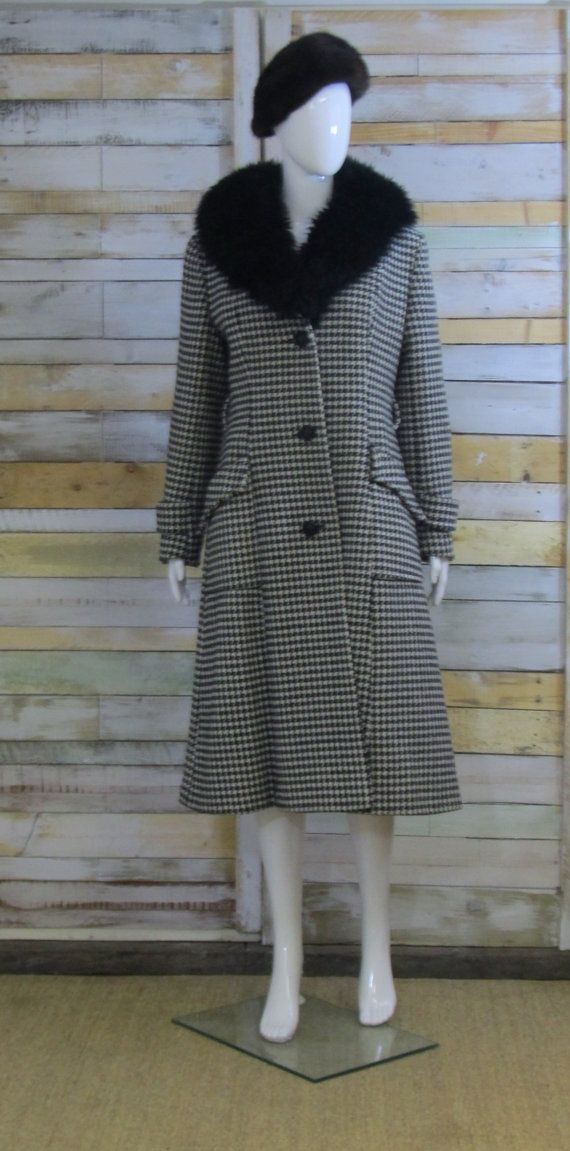 Incredible houndstooth 1960's wool coat faux by CrystalVintageuk