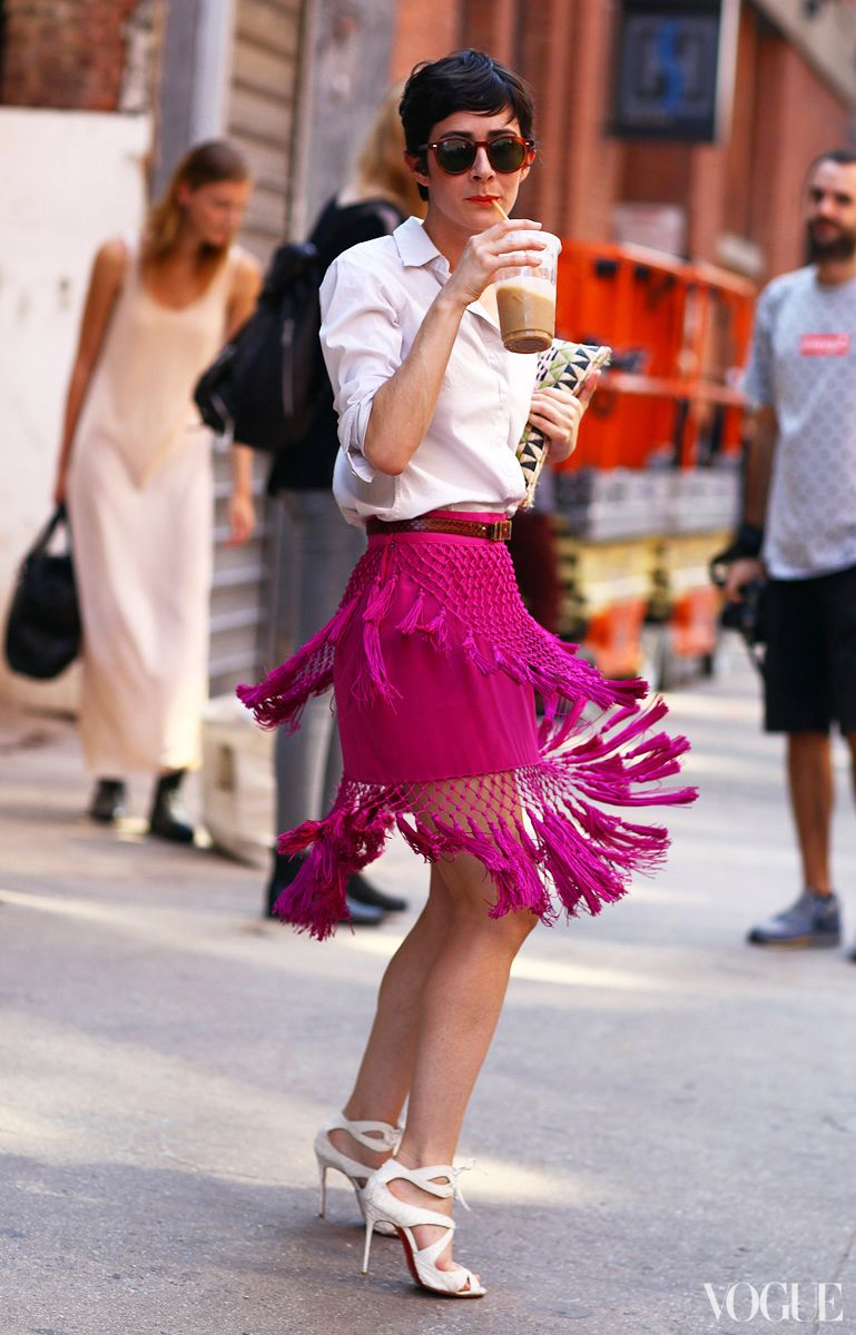 Violaine bernard channels the s with a fringed skirt at nyfw