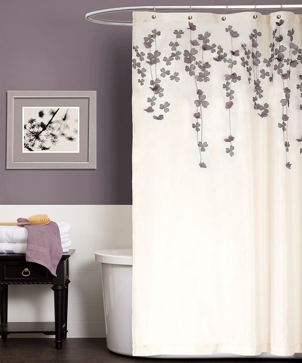 Ivory Purple Flower Drops Shower Curtain Daily Deals For Moms