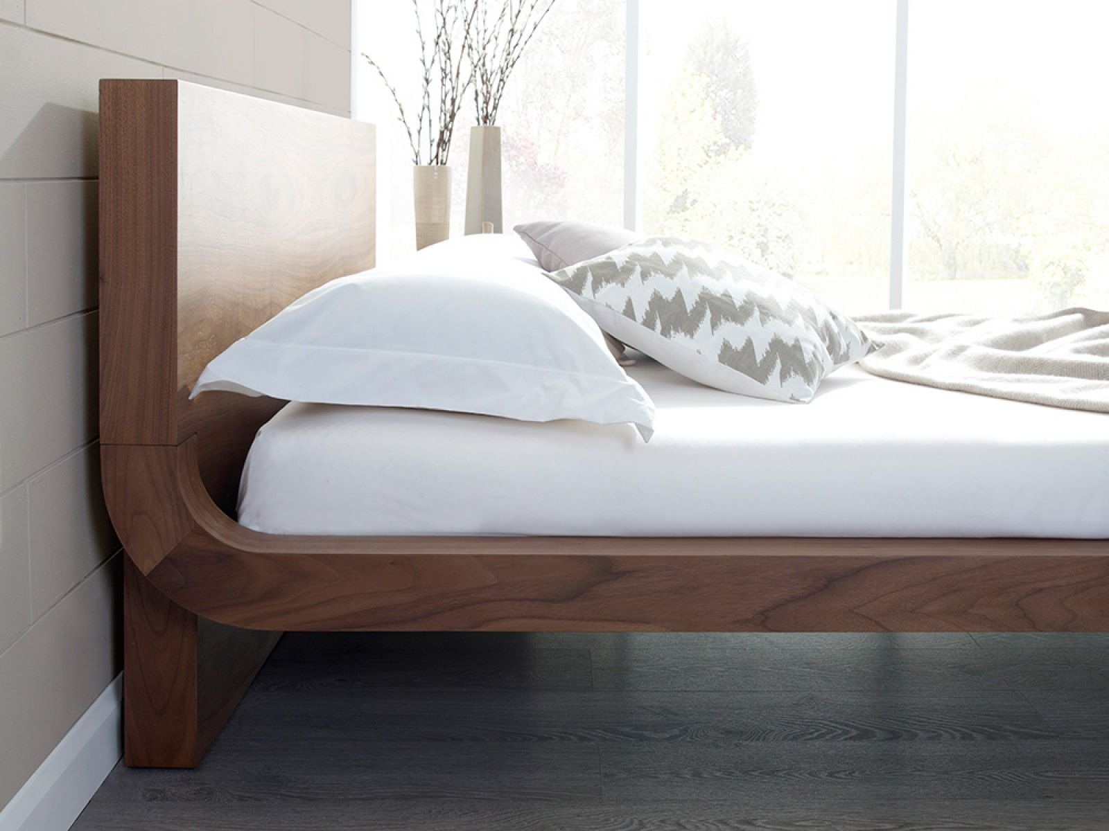 Roma Natural Walnut Bed | Bedroom bed design, Contemporary ...