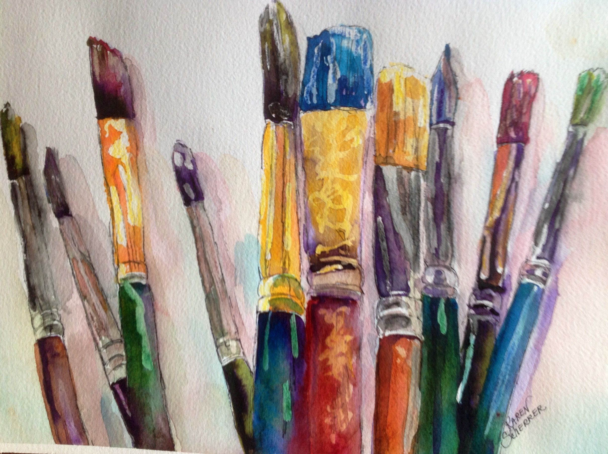 Watercolor artist in texas -  Bunches Of Brushes By Texas Watercolor Artist Karen Scherrer