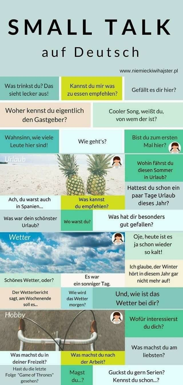 Small Talk In German German Language German Language Learning