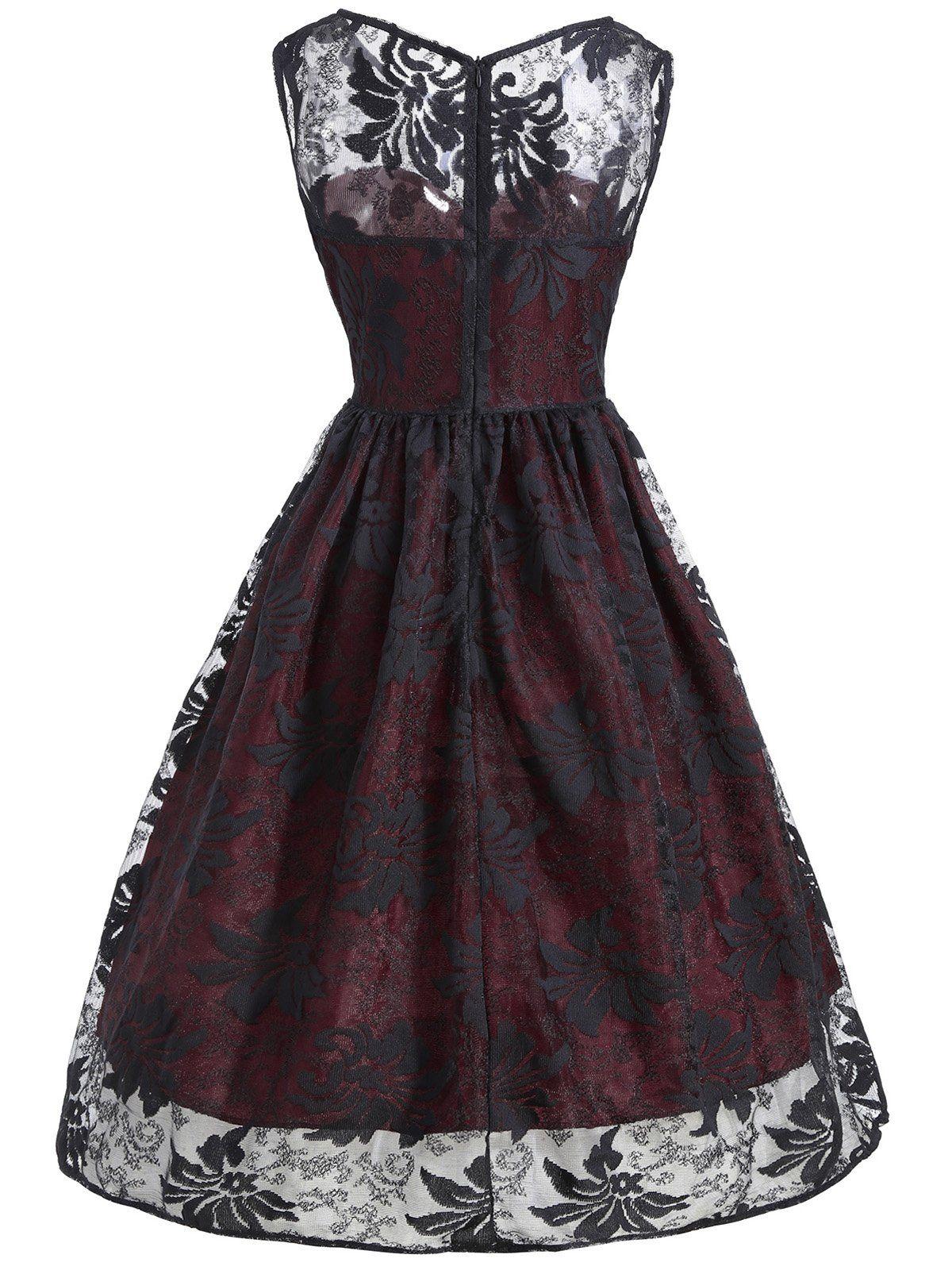 1950er spitze blumendruck Ärmelloses kleid – retro stage